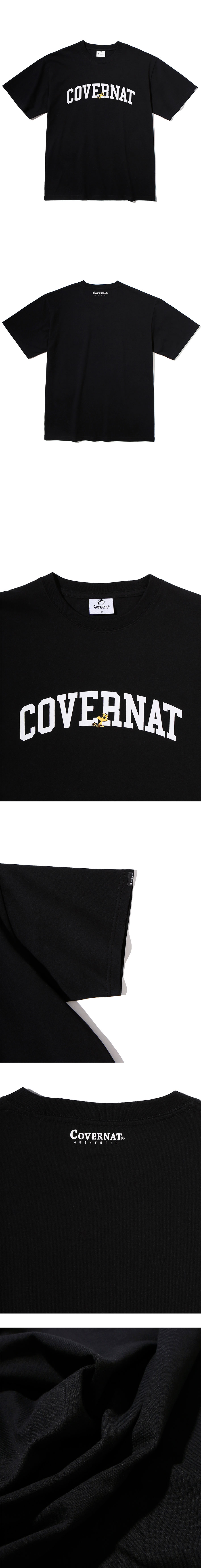 커버낫(COVERNAT) CXPEANUTS 70th ARCH LOGO TEE BLACK