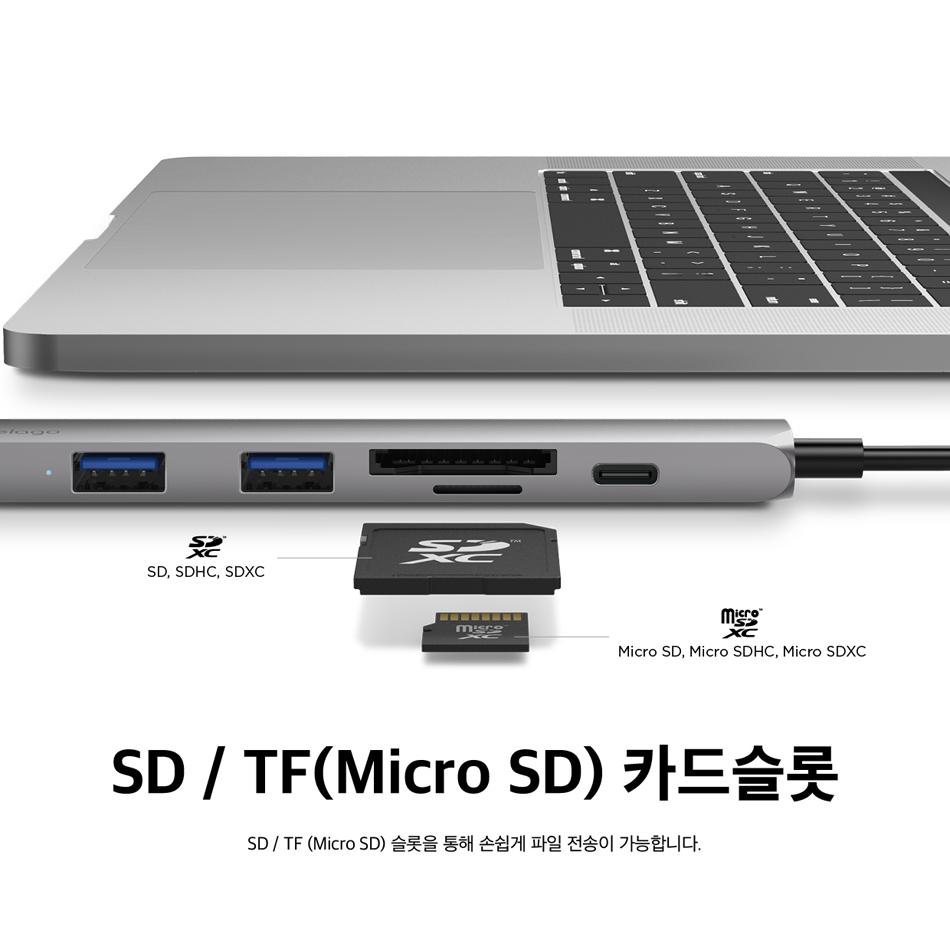 [엘라고] 6IN1 카드리더 HDMI USB-C타입 멀티허브 - 엘라고, 59,000원, USB제품, USB 허브