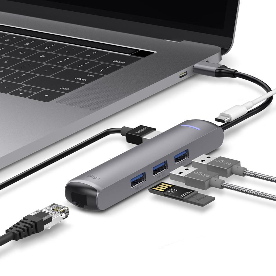 엘라고(ELAGO) 6IN1 이더넷 HDMI USB-C타입 멀티허브