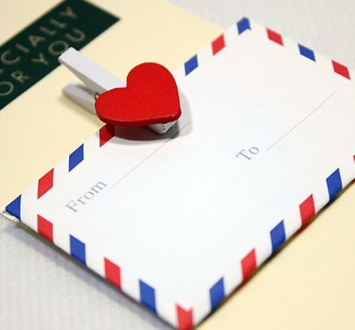 항공우편봉투 하트편지