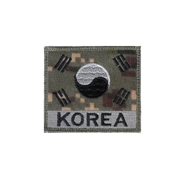 KOREA 벨크로 태극기 디지털회색