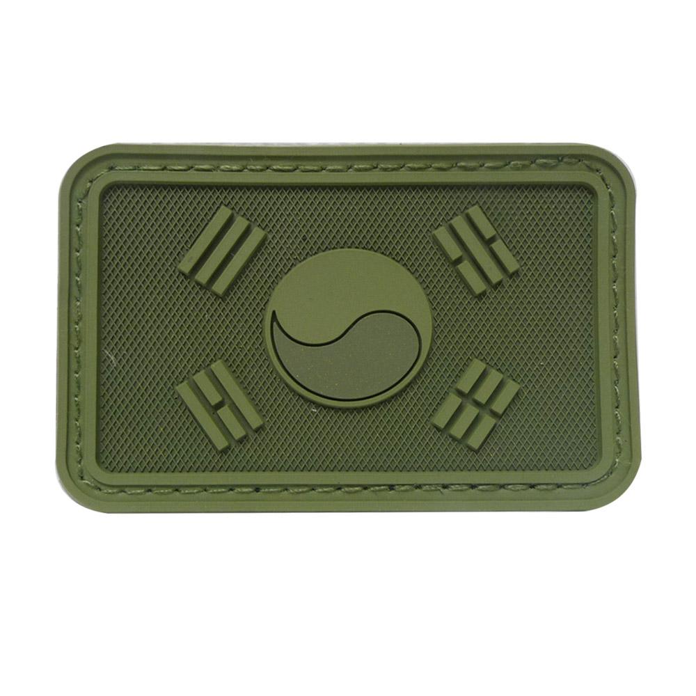 태극기패치 PVC 국방색
